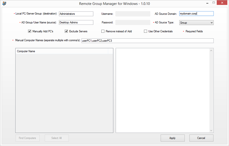 Remote Group Manager for Windows Screen shot